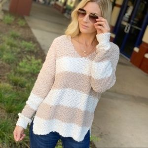 Taupe and Ivory Striped  Popcorn V-Neck Sweater